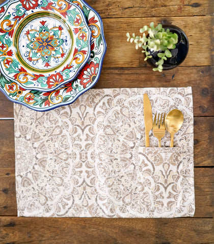 Placemats - Brenna Cotton & Canvas Pocket Placemats - Set Of 6
