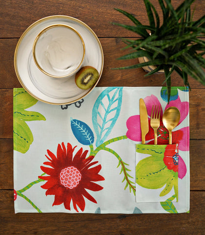 Placemats - Cali Cotton & Canvas Pocket Placemats - Set Of 6