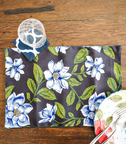 Placemats - Flores Reversible Fabric Placemats And Coasters- Set Of 6