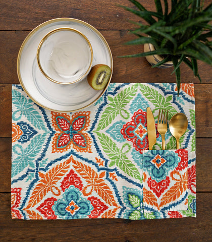 Placemats - Mardi Cotton & Canvas Pocket Placemats - Set Of 6