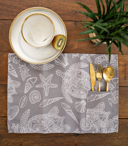 Placemats - Marin Cotton & Canvas Pocket Placemats - Set Of 6