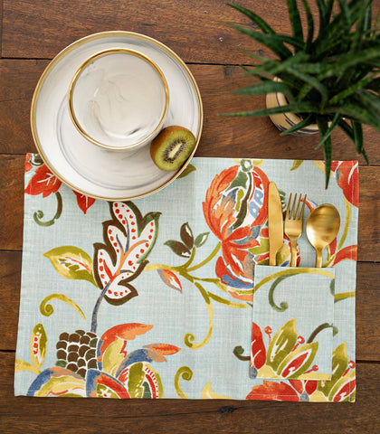 Placemats - Poppy Cotton & Canvas Pocket Placemats - Set Of 6