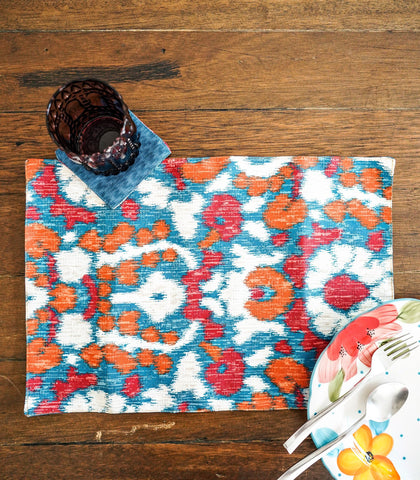 Placemats - Sari Reversible Fabric Placemats And Coasters- Set Of 6