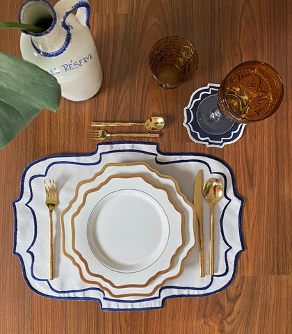 Plate - Istres White Border Dinner And Salad Plate Set