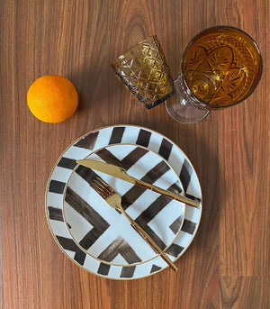 Lyon Geometric Dinner and Salad Plate Set