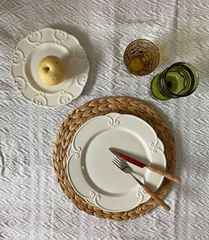 Montpellier White Embossed Ceramic Dinner and Salad Plate Set