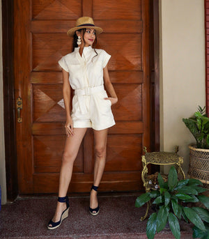 Boana Linen Cuffed Sleeve Button-Down Playsuit (Cream)