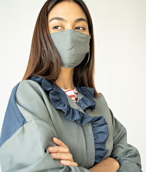 Color Block Ruffle Protective Coat Set with Face Mask
