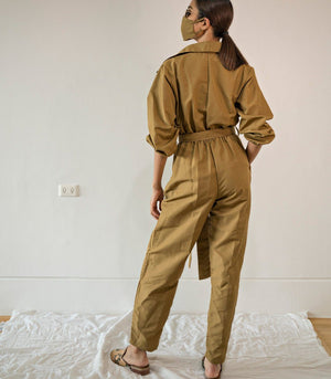 Protective Boiler Suit Set with Face Mask (Copper)