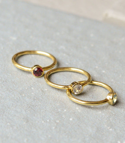 Ring - 3 Piece Stackable Rings: Garnet, Blue Topaz, Moonstone