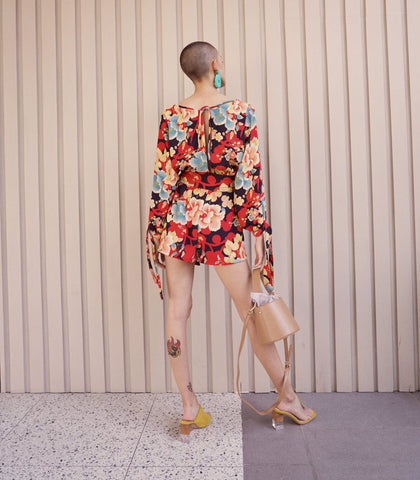 Romper - Uribia Floral Print Long Sleeve Romper With Sash