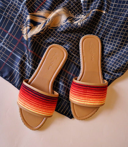 Sandals - Allegrina Stripe Slides (Orange)