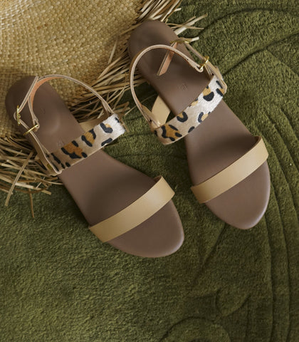 Sandals - Annia Leopard Sandals (Nude)