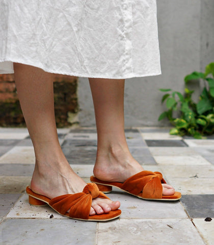 Sandals - Flamenco Knot Heeled Sandals - Paprika