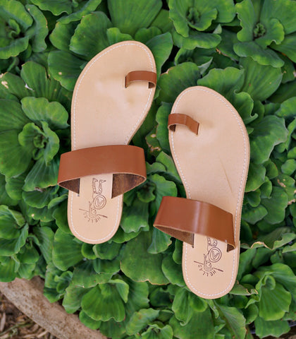 Sandals - Hellas Toe-Ring Sandals (Tan)