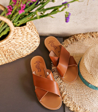 Sandals - Hellas Wide Cross Sandals (Tan)