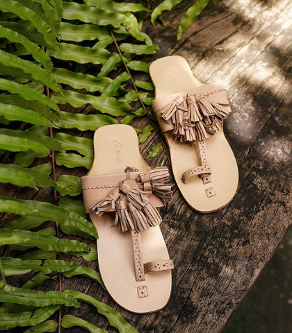 Lucine Leather Tassel Slides