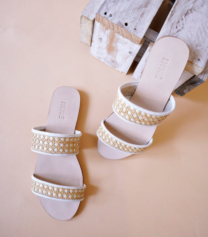 Sandals - Sinta Double Strap Solihiya Slides (White)