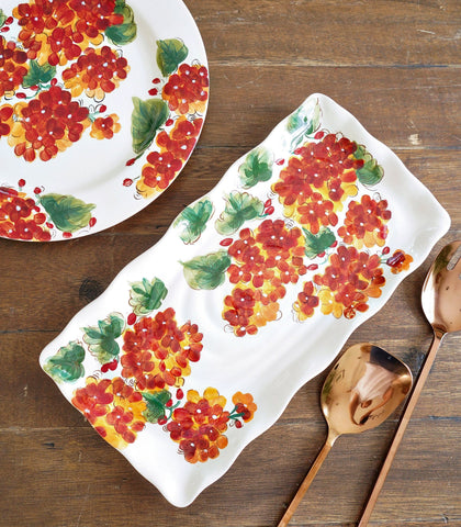 Serveware - Geranium Blooms Rectangle Serving Platter