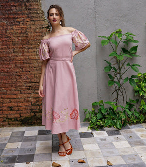 Azucar Resort Medellin Embroidered Off-the-Shoulder Top and Midi Skirt Set (Blush)