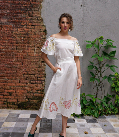 Sets - Azucar Resort Medellin Embroidered Off-the-Shoulder Top And Midi Skirt Set (Eggshell)