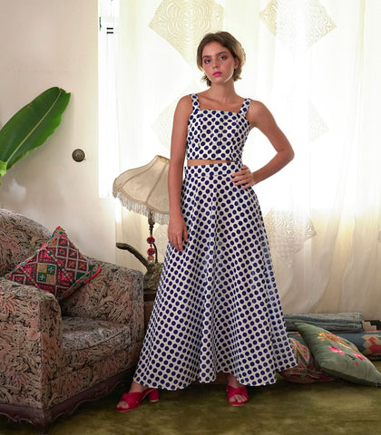 Sets - Caninde Crop Top And Maxi Skirt Set (Blue Polka)