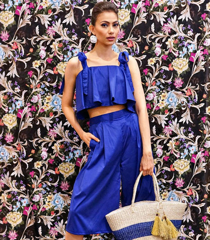 Sets - Chicala Crop Top And Culottes Set (Blue)