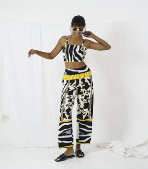 Sets - Hassi Mixed Animal Print Tie-Back Crop Top And Pants Set