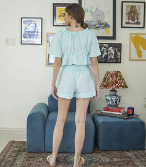 Sets - Ituango Garterized Square Neck Peplum Top And Shorts Set