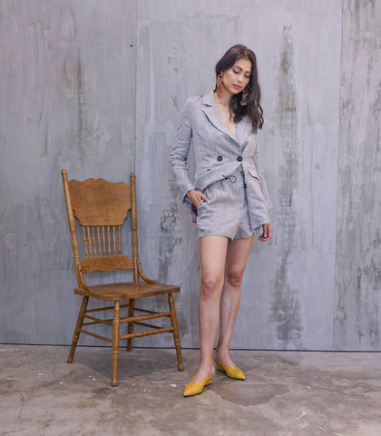 Sets - Kakinad Linen Blazer And Shorts Set