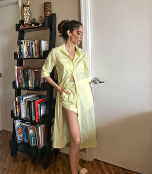 Langata Long Sleeve Button-Down Dress + Shorts Set (Canary)