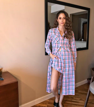 Langata Long Sleeve Button-Down Dress + Shorts Set (Multicolor Checkered)