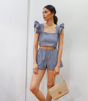 Malindi Gingham Ruffle Sleeve Crop Top and Shorts Set (Navy Blue)