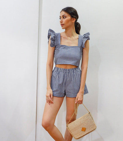 Sets - Malindi Gingham Ruffle Sleeve Crop Top And Shorts Set (Navy Blue)