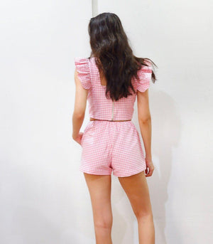 Malindi Gingham Ruffle Sleeve Crop Top and Shorts Set (Rose Pink)