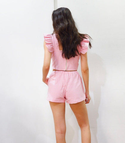 Sets - Malindi Gingham Ruffle Sleeve Crop Top And Shorts Set (Rose Pink)