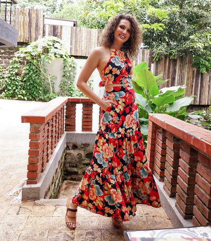 Sets - Tulua Floral Print Halter Top And Tiered Skirt Set