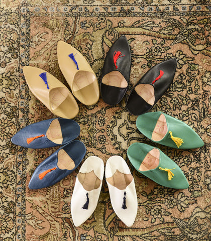 Shoes - Brahim Leather Tasseled Babouche Slides