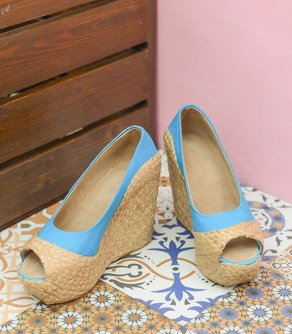 Shoes - Kumi Peeptoe Platform Woven Abaca Wedges