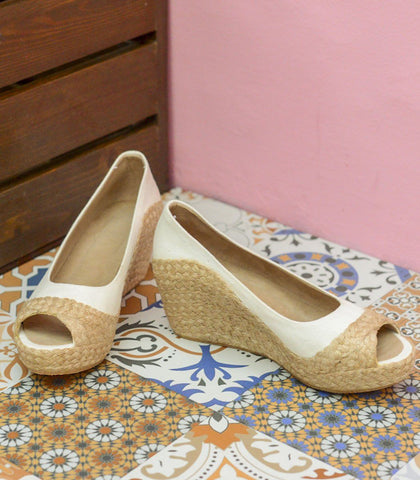 Shoes - Kumi Peeptoe  Woven Abaca Wedges