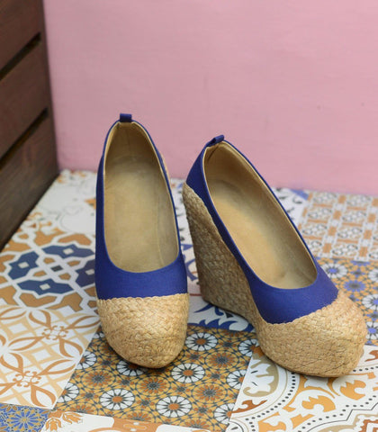 Shoes - Nida Platform Woven Abaca Wedges