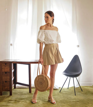 Shorts - Ceske Highwaist Pleated Shorts (Latte)