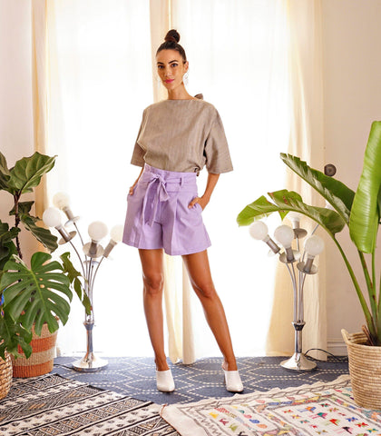 Shorts - Waslala High Waisted Belted Shorts (Lilac)