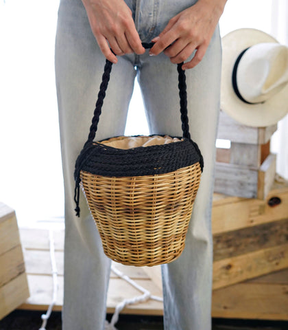 Shoulder Bag - Barkin Wicker Basket Bag - Black