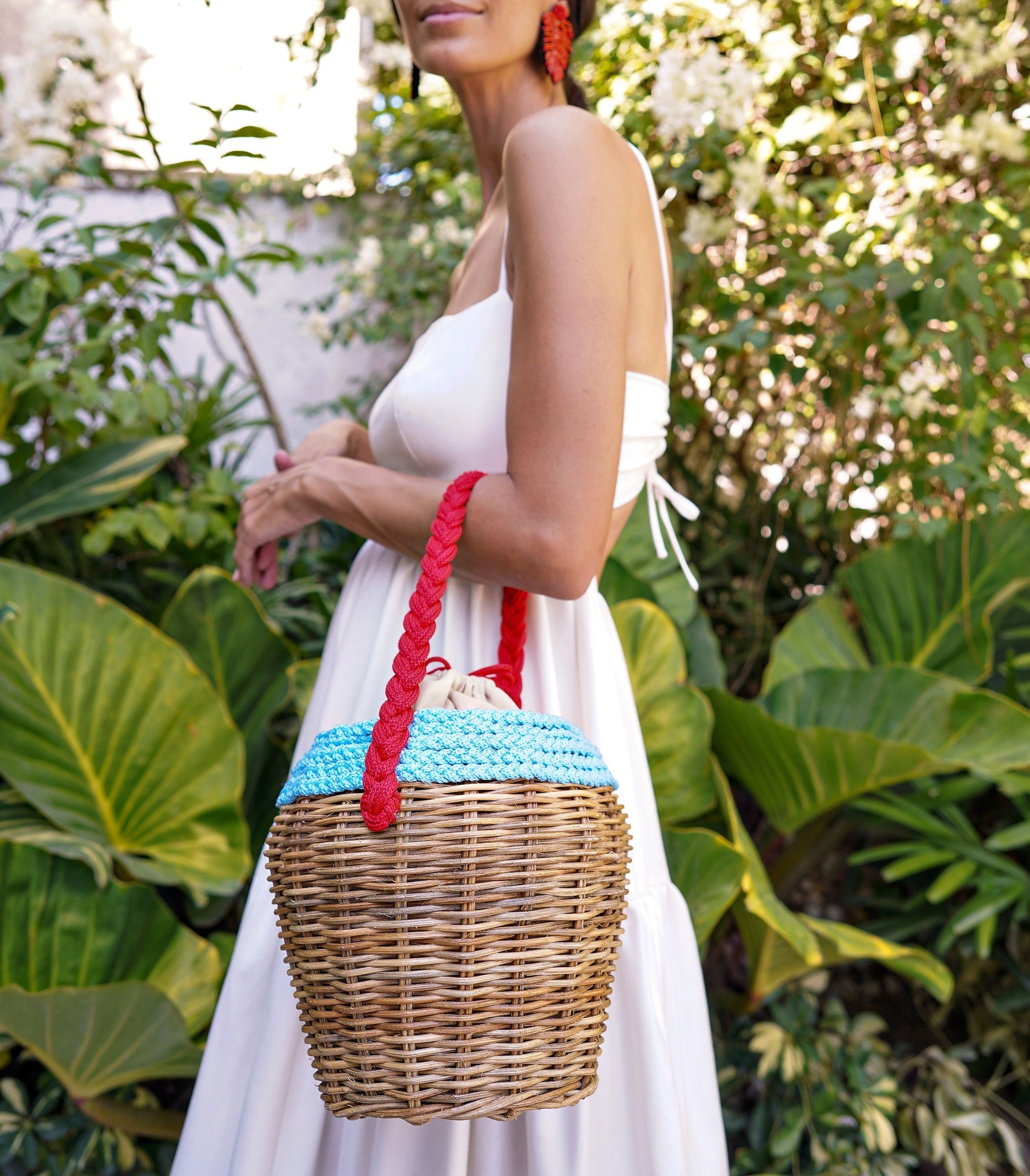 Barkin Wicker Basket Bag - Blue Mix