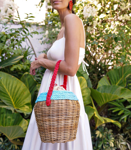 Shoulder Bag - Barkin Wicker Basket Bag - Blue Mix