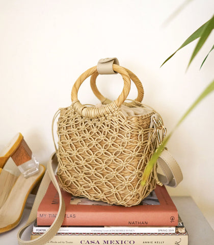 Shoulder Bag - Cuba 4-Way Macramé Bag (Creme)