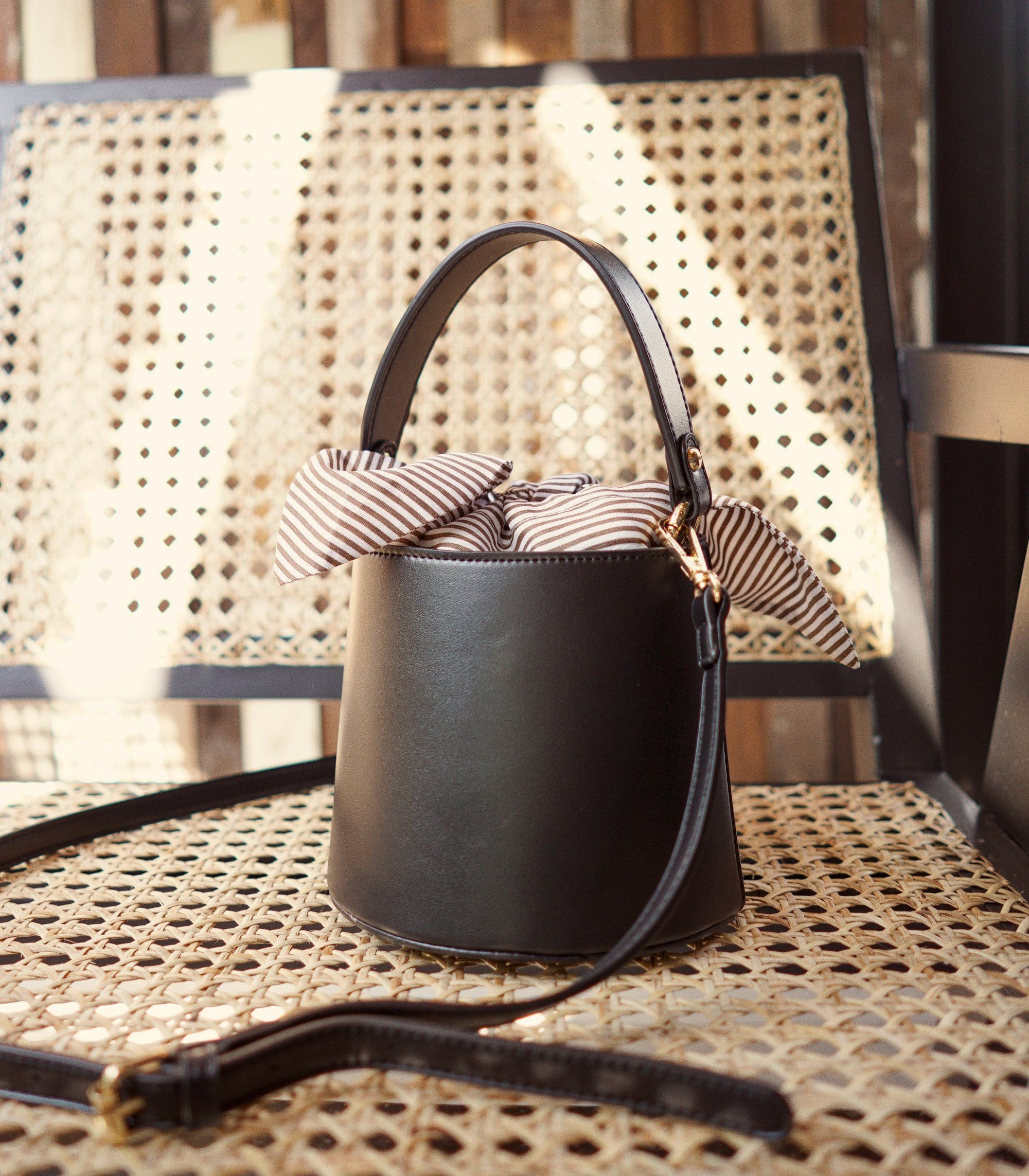 Lia Faux Leather Bucket Sling Bag - Black