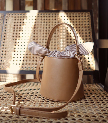 Shoulder Bag - Lia Faux Leather Bucket Sling Bag - Mocha