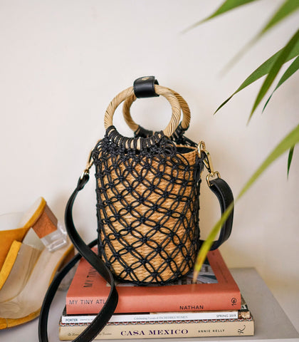 Shoulder Bag - Toulouse 4-Way Macramé Bag (Noir)